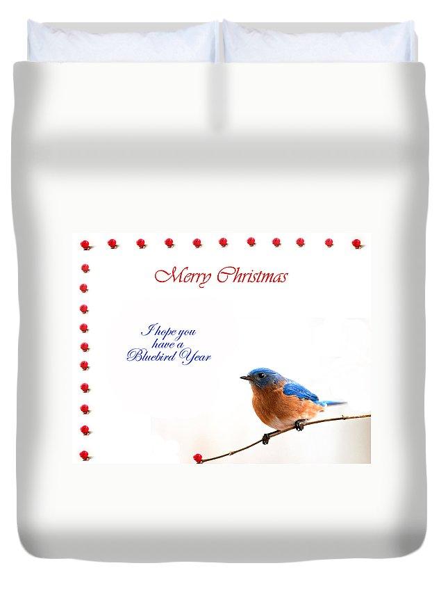 Bluebird Christmas Card Duvet Cover featuring the photograph Bluebird Christmas Card by Randall Branham