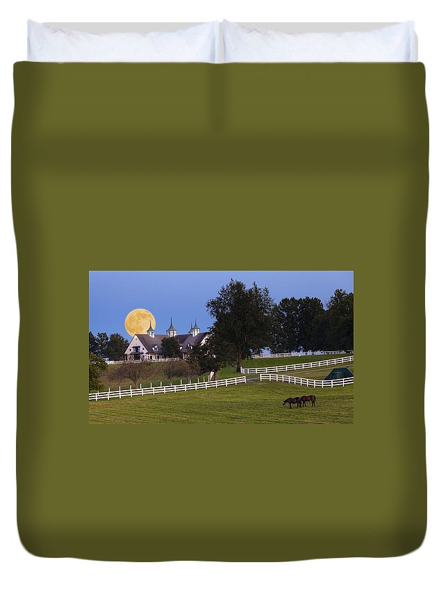 Farm Duvet Cover featuring the photograph Bluegrass Moonrise by Alexey Stiop
