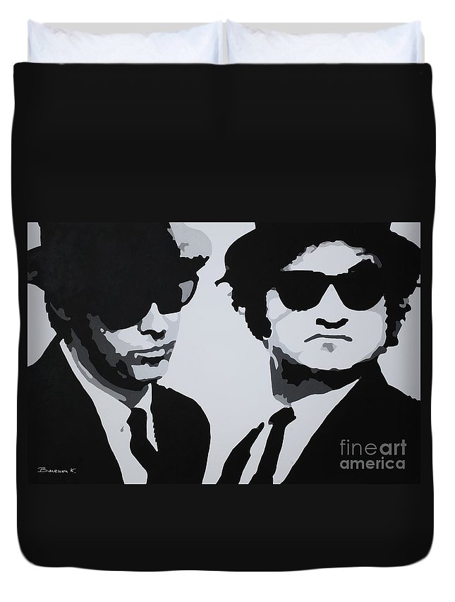 Blues Brothers Duvet Cover featuring the painting Blues Brothers by Katharina Filus