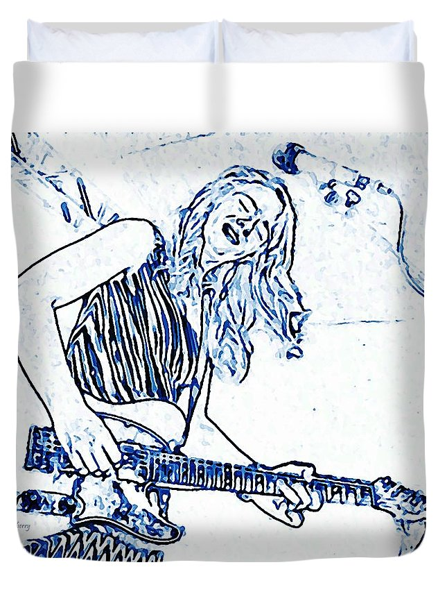 Kc Duvet Cover featuring the photograph Blues In Blue by Chris Berry