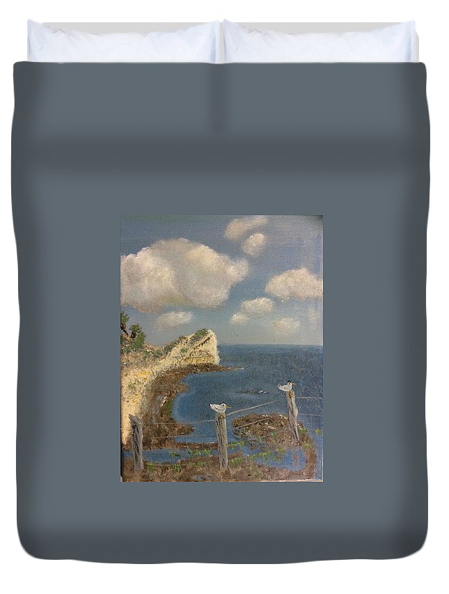 Ocean Duvet Cover featuring the painting Bluff At Laguna Madre by Marcy Urban