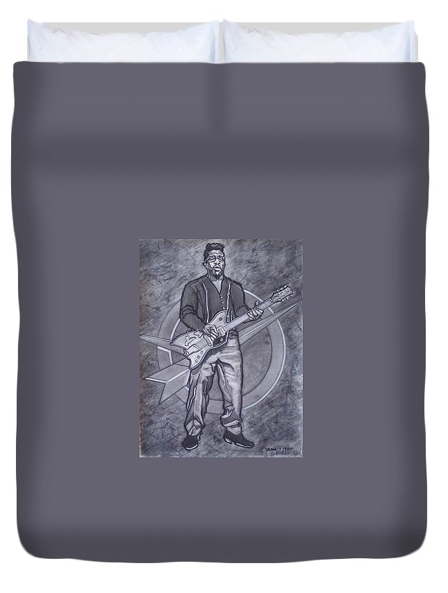 Texas;charcoal;king Of Rock;rock And Roll;music;1950s;blues;musician;funk;electric Guitar;marble;soul Duvet Cover featuring the drawing Bo Diddley - Have Guitar Will Travel by Sean Connolly
