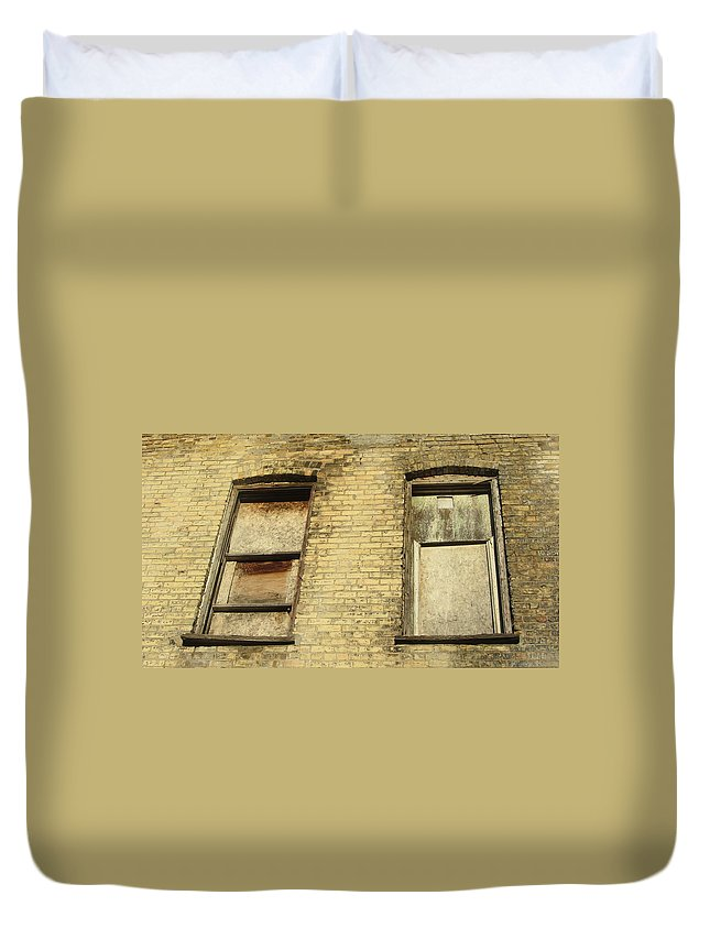 Urban Duvet Cover featuring the photograph Boarded Windows 2 by Anita Burgermeister