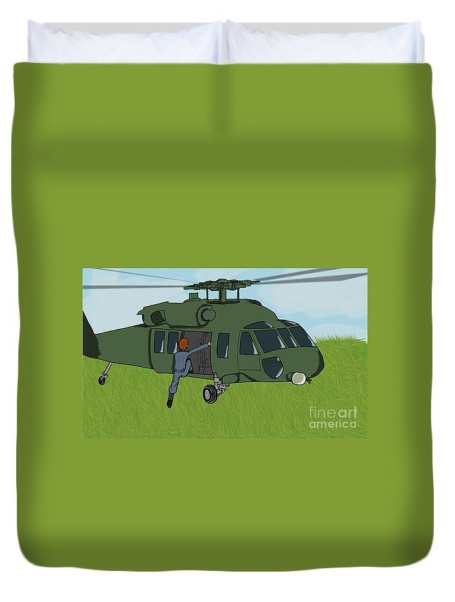 Helicopter Duvet Cover featuring the digital art Boarding A Helicopter by Yael Rosen