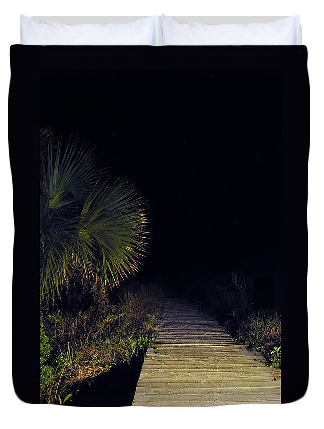 Beach Duvet Cover featuring the photograph Boardwalk At Night by Kay Lovingood