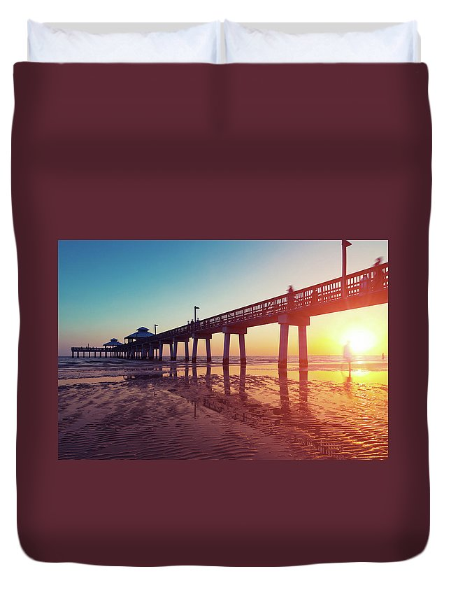 Water's Edge Duvet Cover featuring the photograph Boardwalk At Sunset While The Sun by Moreiso