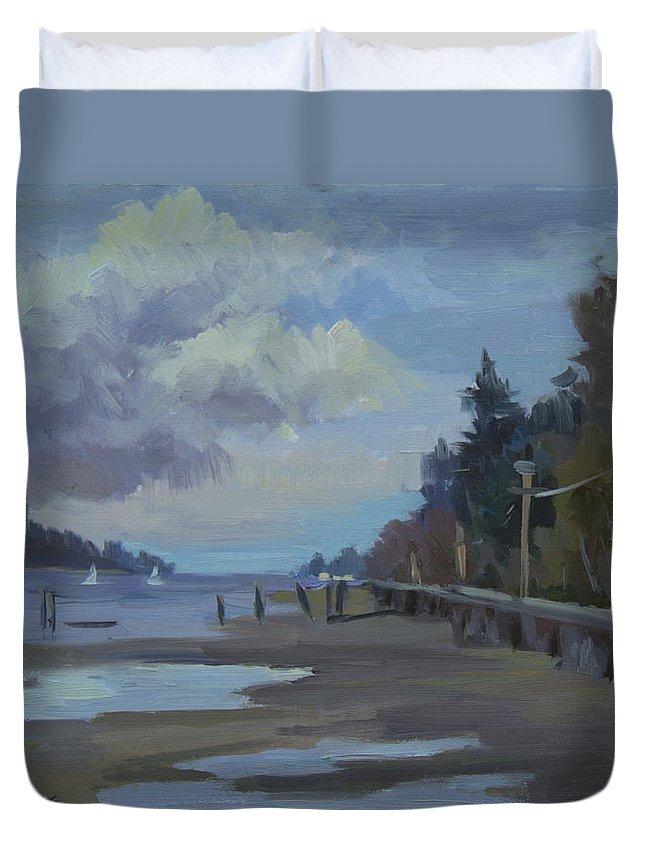 Vashon Island Duvet Cover featuring the painting Boardwalk On Vashon Island by Diane McClary