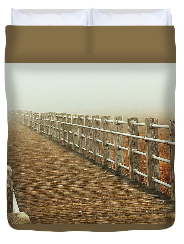 Boardwalk Duvet Cover featuring the photograph Boardwalk To The Unknown by Karol Livote