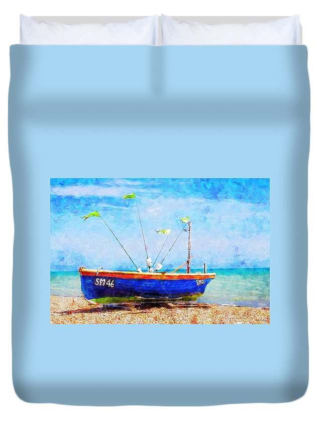 Boat Duvet Cover featuring the painting Boat Ashore by Sandy MacGowan