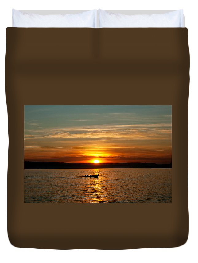 Boat Duvet Cover featuring the photograph Boat At Sunset by Evgeni Ivanov
