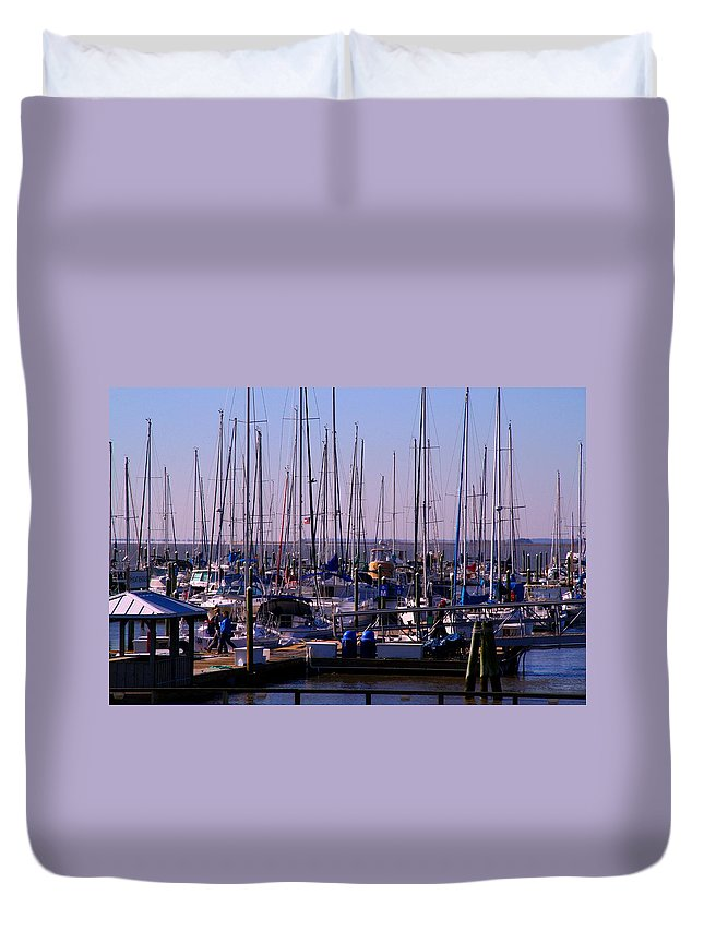 Boat Duvet Cover featuring the photograph Boat Basin by Kathryn Meyer