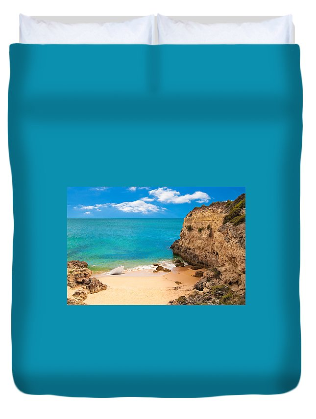Bay Duvet Cover featuring the photograph Boat On Beach Algarve Portugal by Amanda Elwell