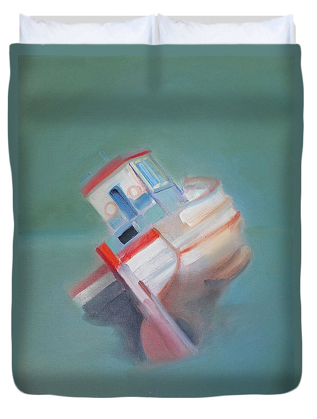 Fishing Boat Duvet Cover featuring the painting Boat Retired Tavira by Charles Stuart