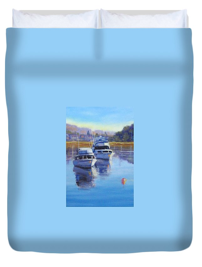 Boats Duvet Cover featuring the painting Boats At Merimbula Australia by Diane Quee