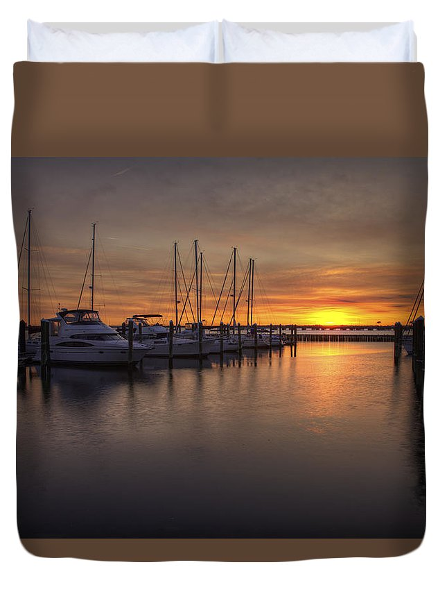 Boats Duvet Cover featuring the photograph Boats At Sunset by Amy Jackson