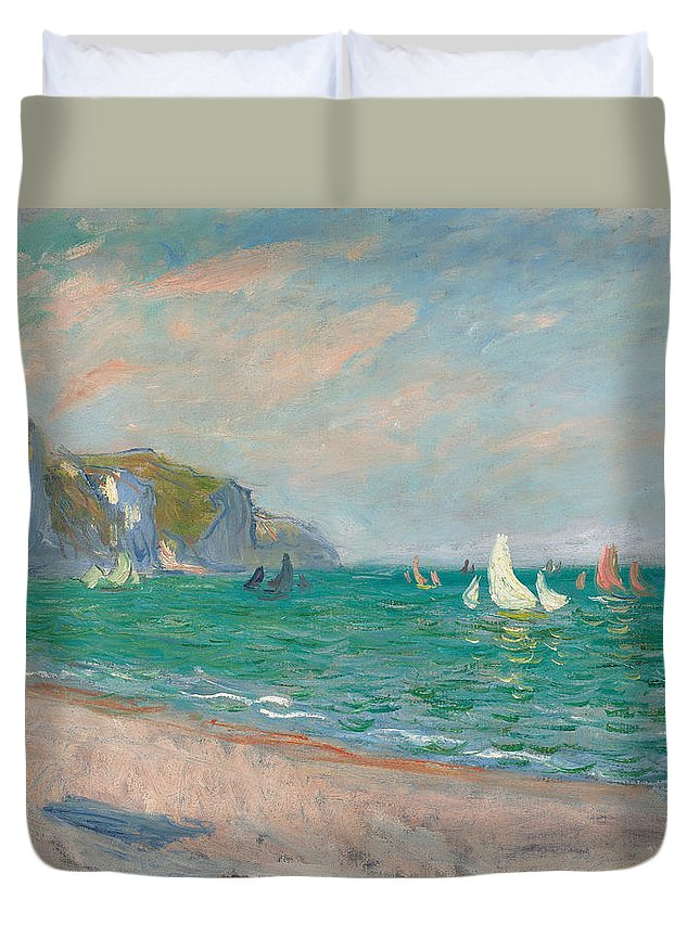 French Duvet Cover featuring the painting Boats Below The Pourville Cliffs by Claude Monet