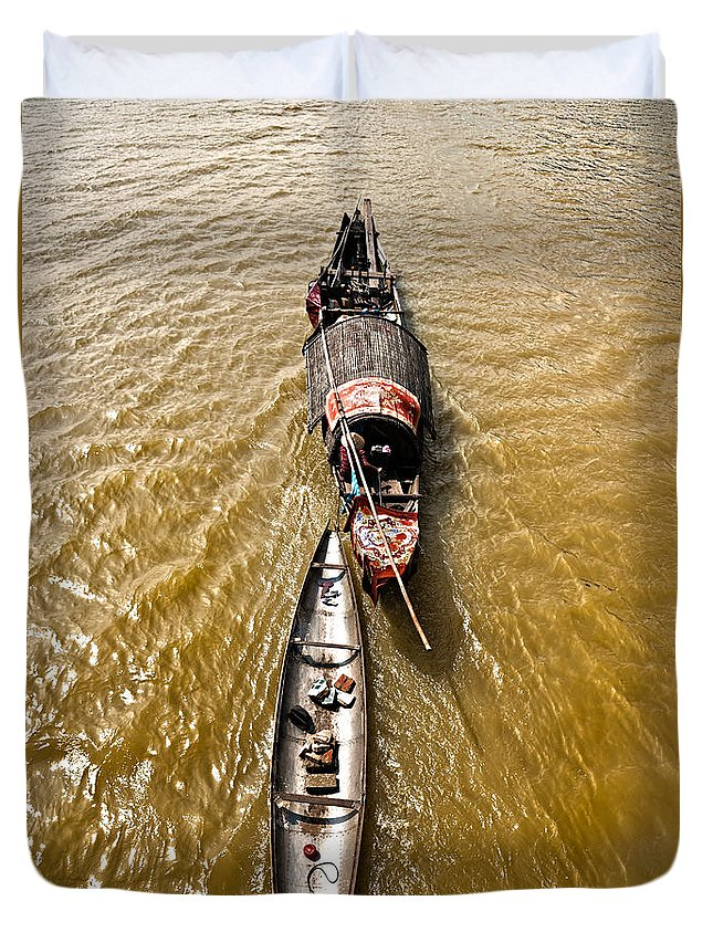 Asia Duvet Cover featuring the photograph Boats In The Mekong River - Vietnam by Luciano Mortula