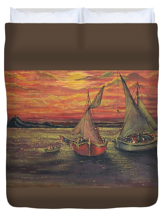 Seascape Duvet Cover featuring the painting Boats In The Sea by Yatendra Amar