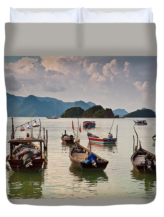 Southeast Asia Duvet Cover featuring the photograph Boats Moored In Sea, Teluk Baru by Richard I'anson