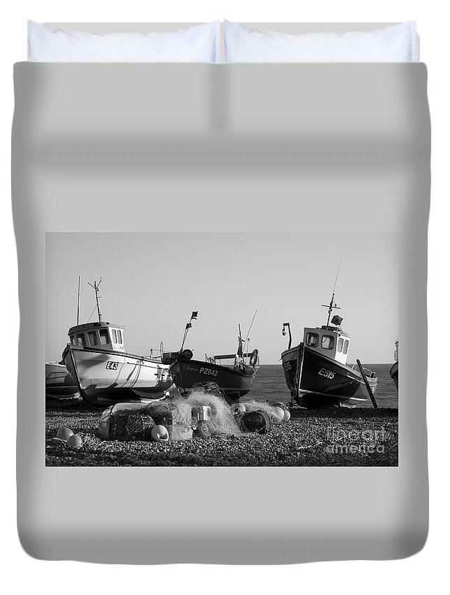 Fishing Boat Boats Seaside Retro Vintage Maritime Ships Beer Devon Coast Sea Shadows Shadow Beach Beached South West Black White Monochrome Surreal Three British English England Great Britain Wooden Coastal Vessel Vessels Ocean Landscape Seascape Art Artistic Arty Traditional Low Tide Scene Eerie Drama Dramatic Striking Classic Calm Moody Net Nets Europe European Outdoors Detail Town Uk   Duvet Cover featuring the photograph Boats On Beer Beach by Hugh Reynolds