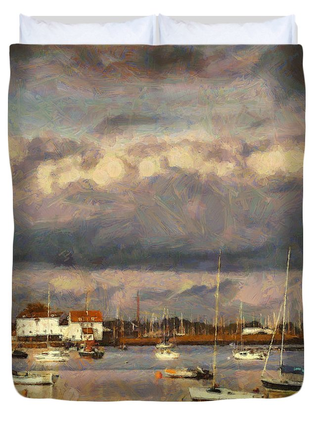 Boat Duvet Cover featuring the painting Boats On The River by Pixel Chimp