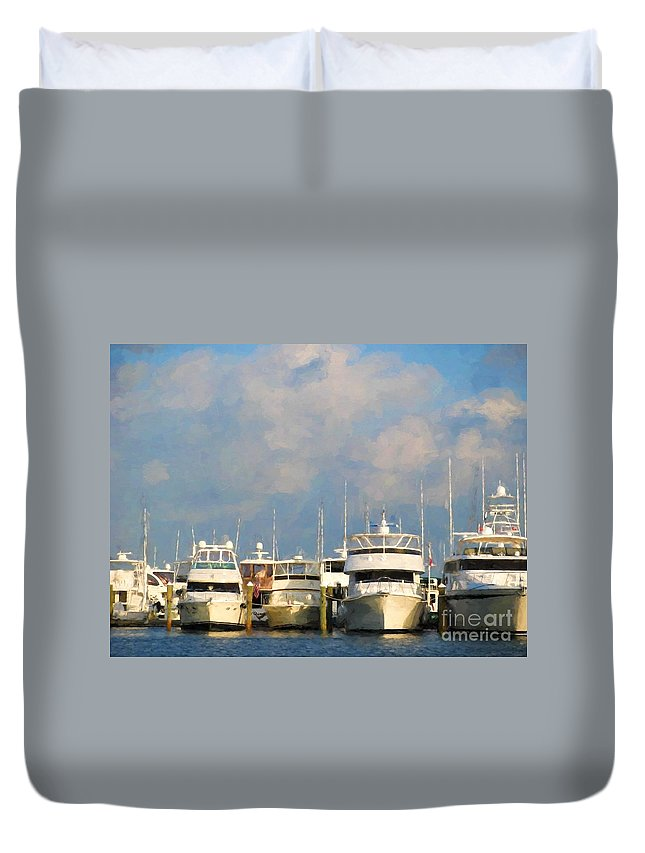 Boats Duvet Cover featuring the photograph Boats by Peggy Hughes