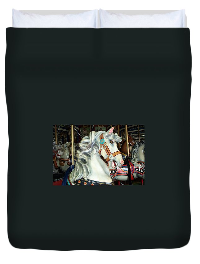 Carousel Duvet Cover featuring the photograph Bob by Barbara McDevitt