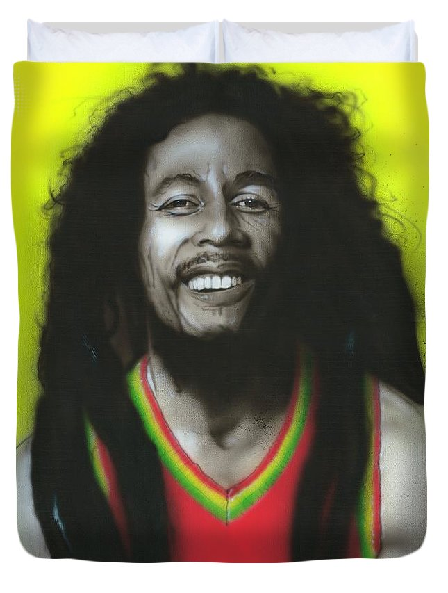Bob Marley Duvet Cover featuring the painting Bob by Christian Chapman Art