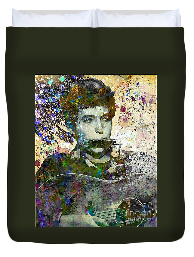 60s Duvet Cover featuring the painting Bob Dylan Original Painting Print by Ryan Rock Artist