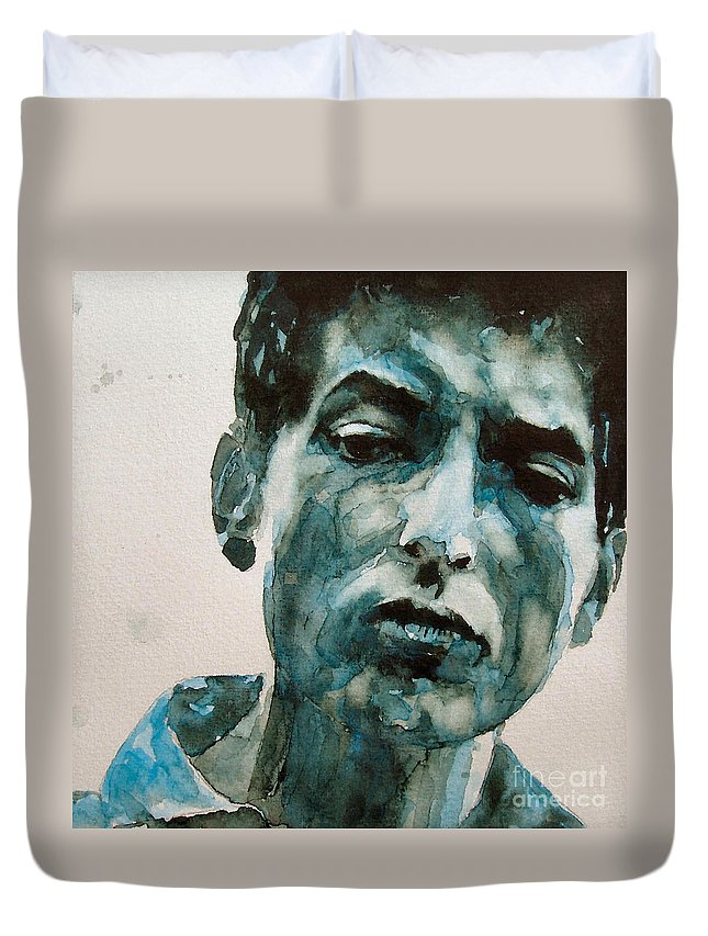 Bob Dylan Duvet Cover featuring the painting Bob Dylan by Paul Lovering