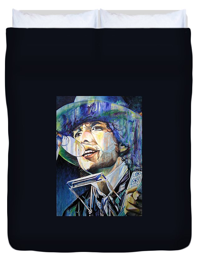 Bob Dylan Duvet Cover featuring the painting Bob Dylan Tangled Up In Blue by Joshua Morton