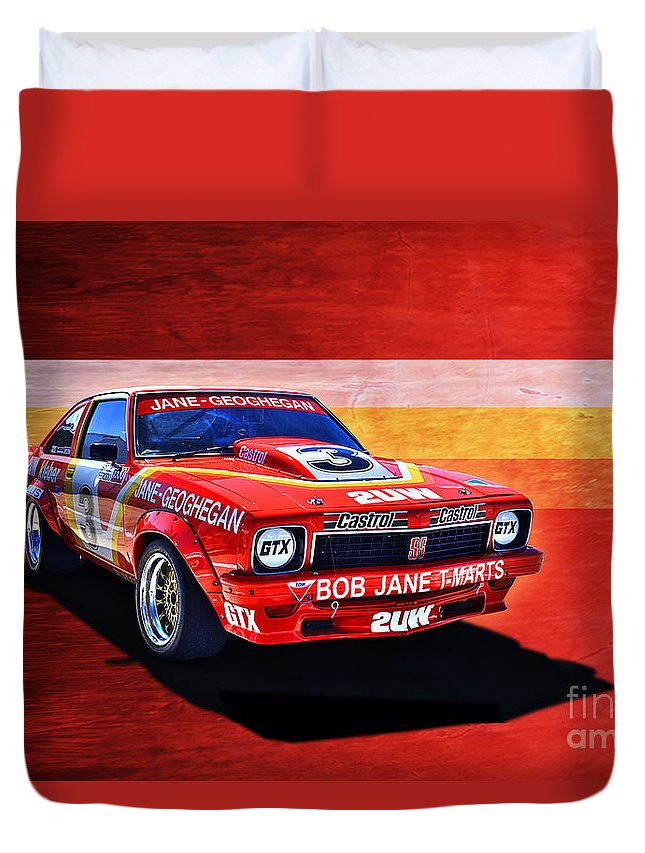 Holden Duvet Cover featuring the photograph Bob Jane Torana A9x by Stuart Row