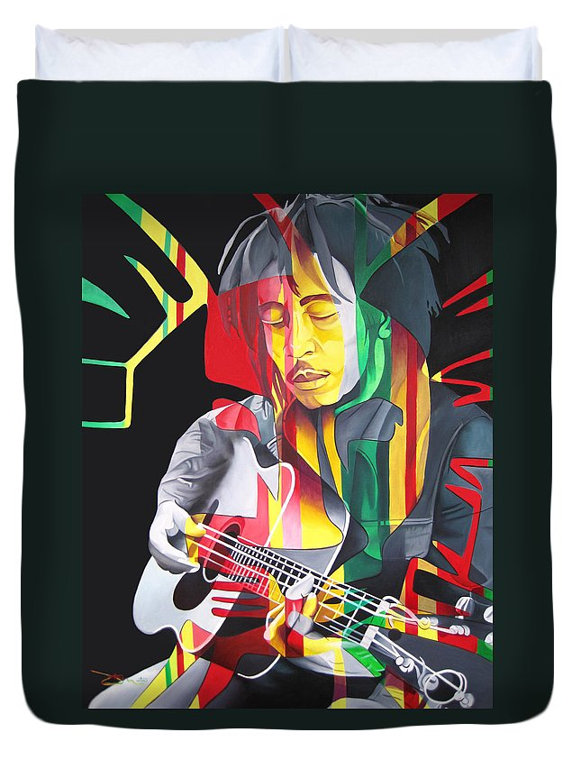 Bob Marley Duvet Cover featuring the painting Bob Marley And Rasta Lion by Joshua Morton