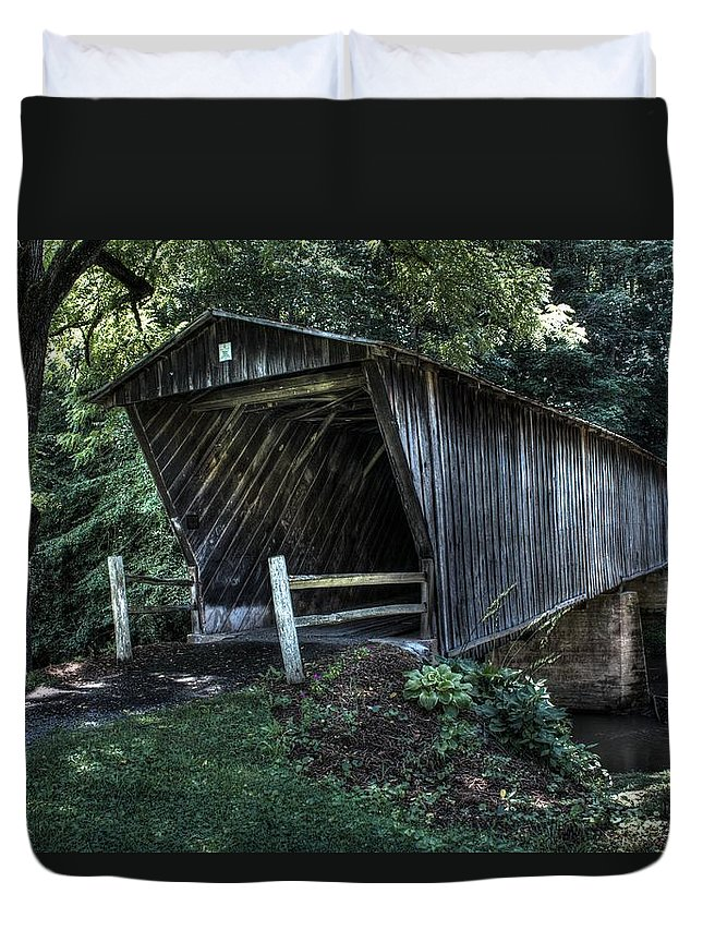 Bob White's Bridge Duvet Cover featuring the photograph Bob White's Covered Bridge by Shannon Louder