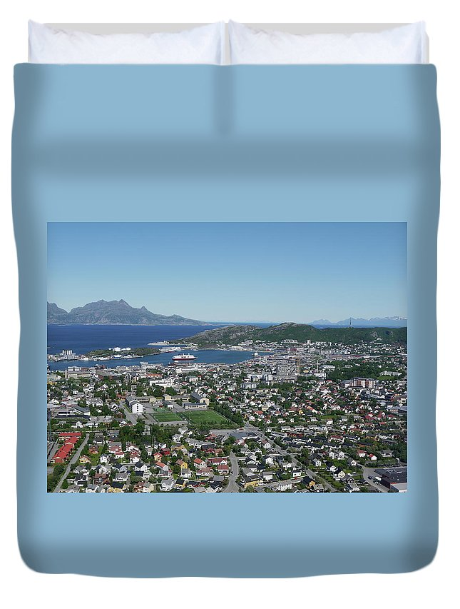 Tranquility Duvet Cover featuring the photograph Bodø Airial View, North Norway by Monica Mostue
