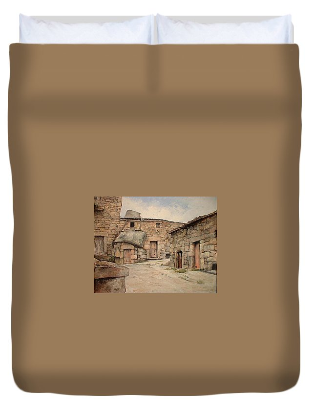 Fermoselle Duvet Cover featuring the painting Bodegas en Fermoselle by Tomas Castano