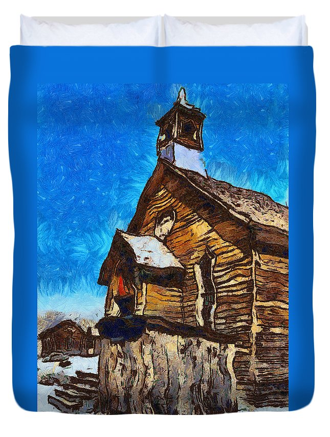 Barbara Snyder Duvet Cover featuring the digital art Bodie Ghost Town Methodist Church by Barbara Snyder