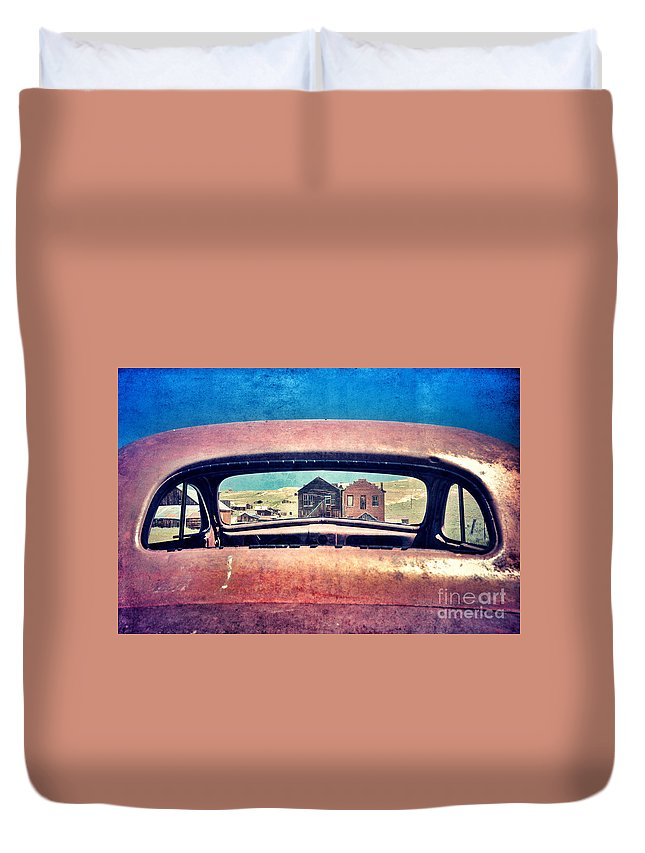 Car Duvet Cover featuring the photograph Bodie Through Car Window by Jill Battaglia