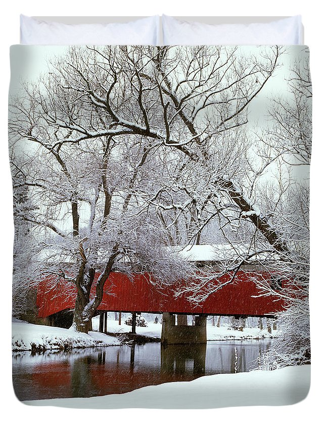 Photography Duvet Cover featuring the photograph Bogarts Bridge Red Covered Bridge by Vintage Images