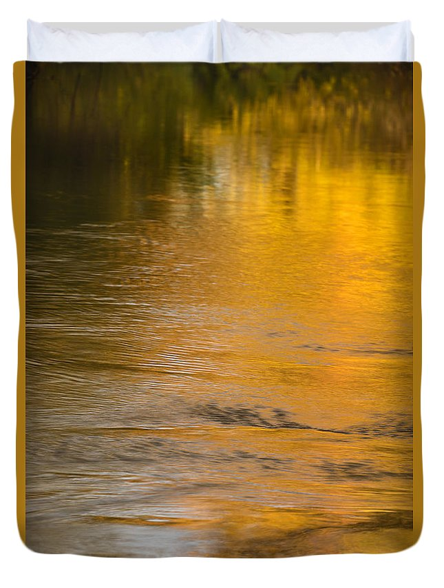 Autumn Duvet Cover featuring the photograph Boise River Autumn Abstract by Vishwanath Bhat