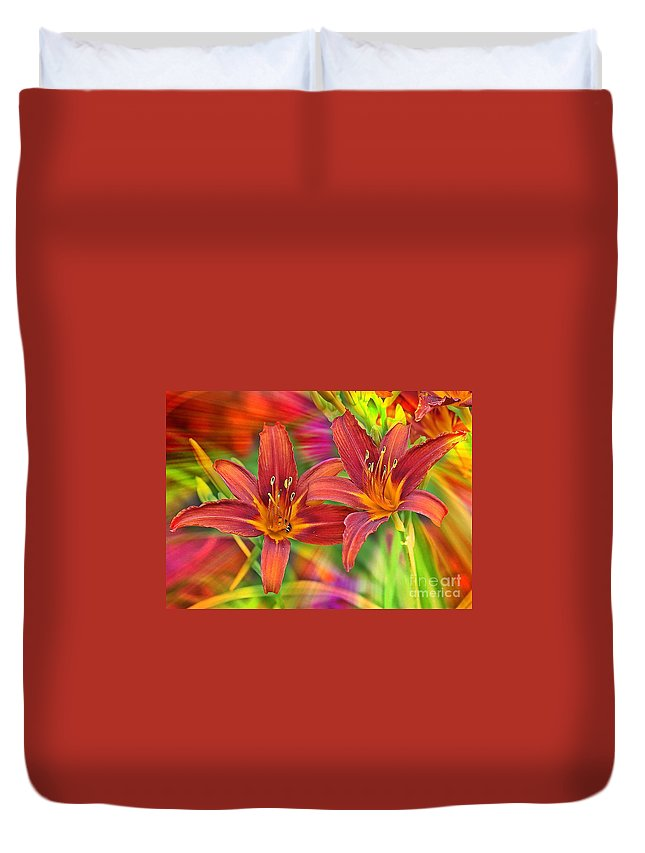Bold Colors Duvet Cover featuring the photograph Bold And Beautiful Daylilies by Carol Groenen
