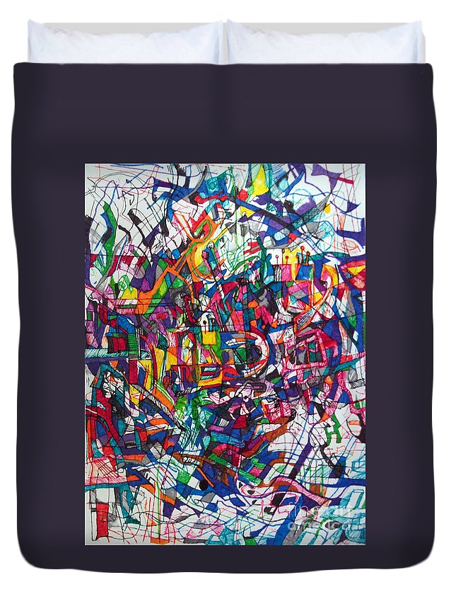 Torah Duvet Cover featuring the drawing Bold As A Leopard by David Baruch Wolk