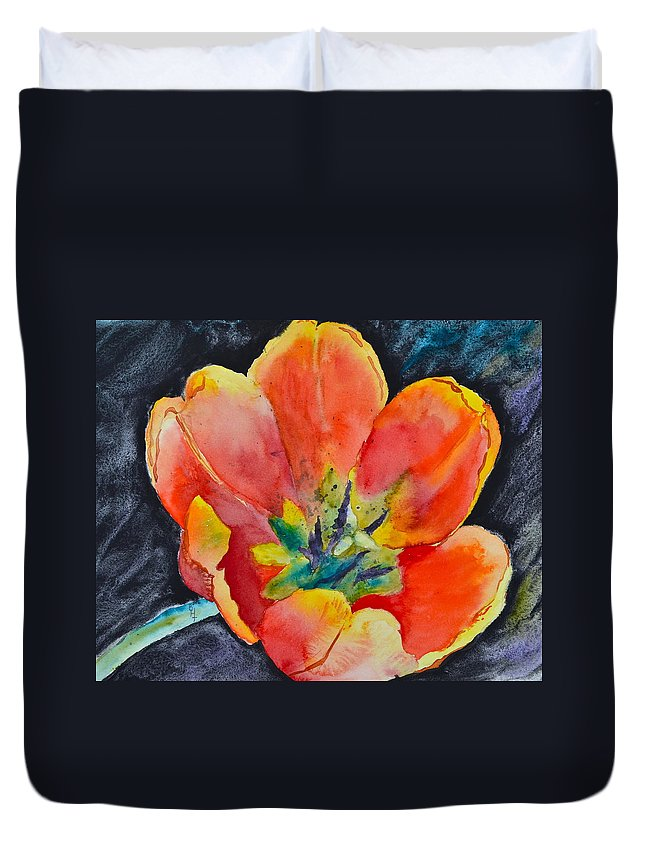 Tulip Duvet Cover featuring the painting Bold by Beverley Harper Tinsley