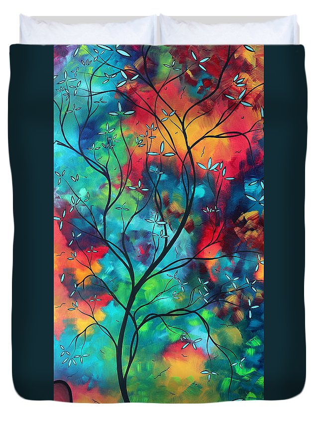 Abstract Duvet Cover featuring the painting Bold Rich Colorful Landscape Painting Original Art Colored Inspiration By Madart by Megan Duncanson