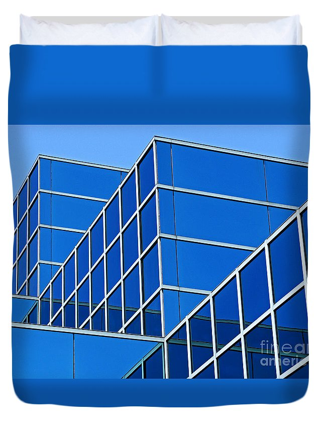 Building Duvet Cover featuring the photograph Boldly Blue by Ann Horn
