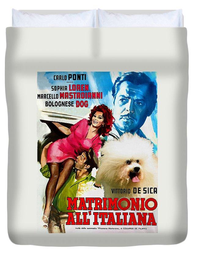 Bolognese Dog Duvet Cover featuring the painting Bolognese Dog Art - Matrimonio All Italiana Movie Poster by Sandra Sij
