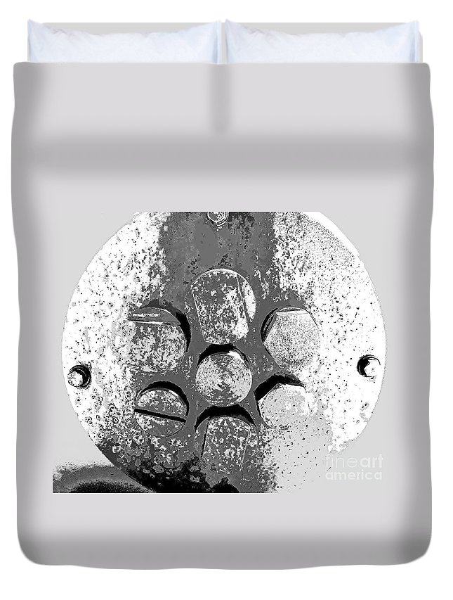 Rust Art Duvet Cover featuring the photograph Bolted Silver by Amar Sheow