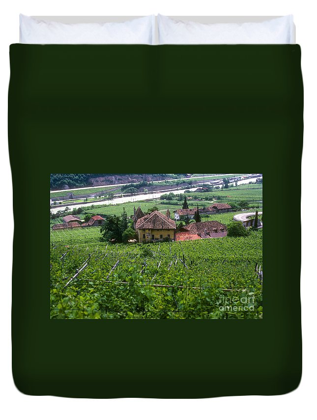 Bolzano Vineyard Vineyards Grape Vine Vines Isarco River Rivers Stream Streams Water Structure Structures Buildings Buildings Tree Trees Landscape Landscapes Italy Duvet Cover featuring the photograph Bolzano Vineyard by Bob Phillips