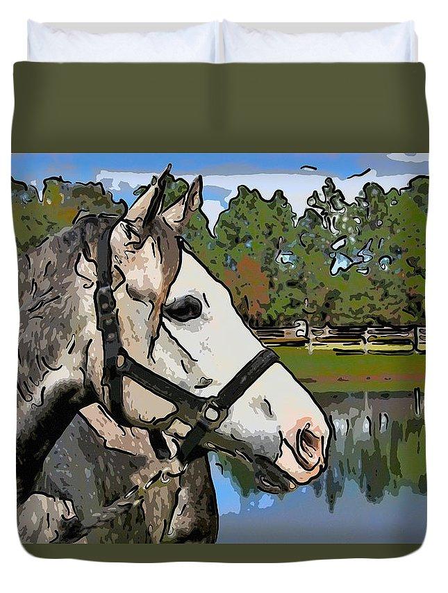 Horse Duvet Cover featuring the photograph Bon Bon by Alice Gipson