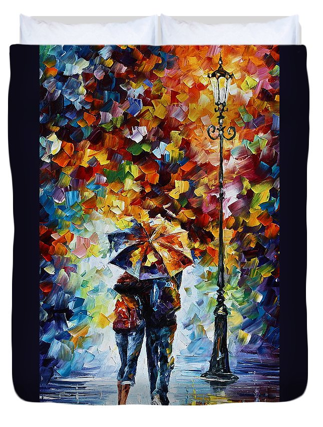 Rain Duvet Cover featuring the painting Bonded By Rain 2 by Leonid Afremov